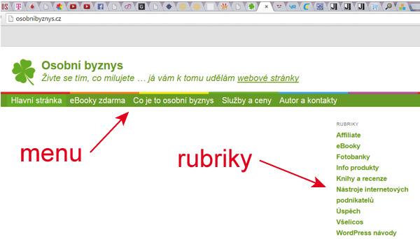 WordPress - menu a rubriky