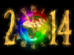 Happy New Year 2014 - image of Europe, Asia and Africa