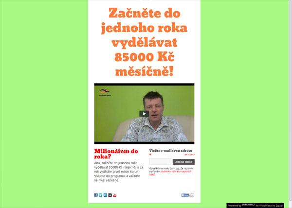 Squeeze page - ždímací stránka Milionářem do roka