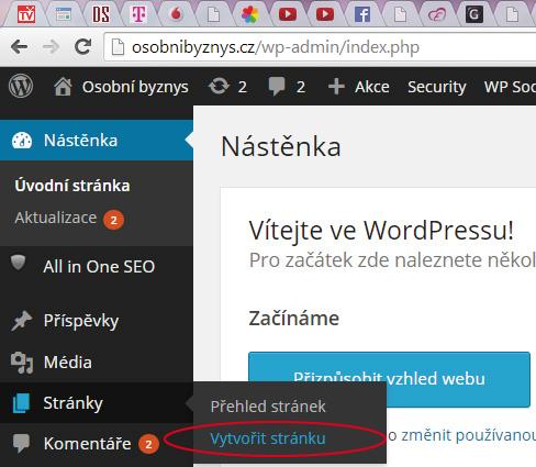 WordPress - Stránky - Vytvořit stránku