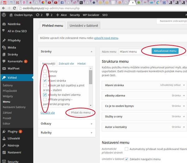 WordPress - Jak dát stránky do menu